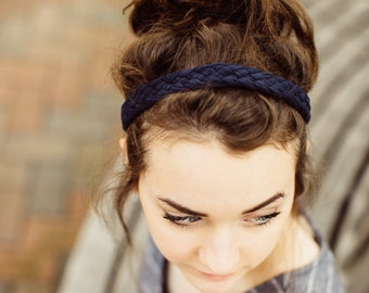 Women's Weaved Headband in Navy Blue, Boho Hippie Hair Accessory for Festival or Beach, Nautical Style Hair Accessory, Comfortable Adult Fit