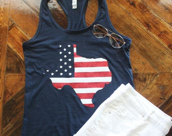 American Flag Texas Shirt / American Flag State Shirt / 4th of July Shirt / Fourth of July Shirt / Texas Nation / Merica / USA