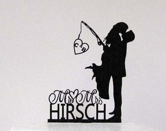 Personalized Wedding Cake Topper - Wedding Bride and Groom silhouette, Fishing cake topper with Initials and Mr&Mrs last name