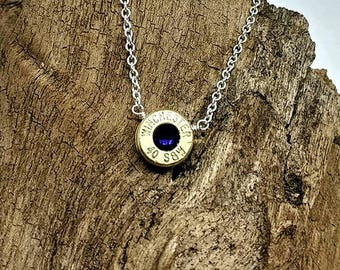 40 Caliber Recycled Bullet Casing Silver Plated Chain