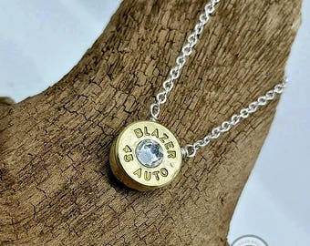 45 ACP Recycled Bullet Casing Silver Plated Chain