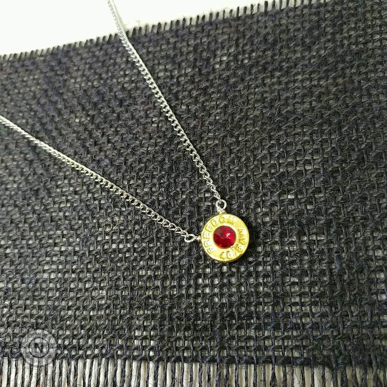 January Necklace Garnet Crystal Bullet Jewelry Recycled Necklace Bullet Casing Necklace Birthstone Necklace Silver Plated Necklace N201