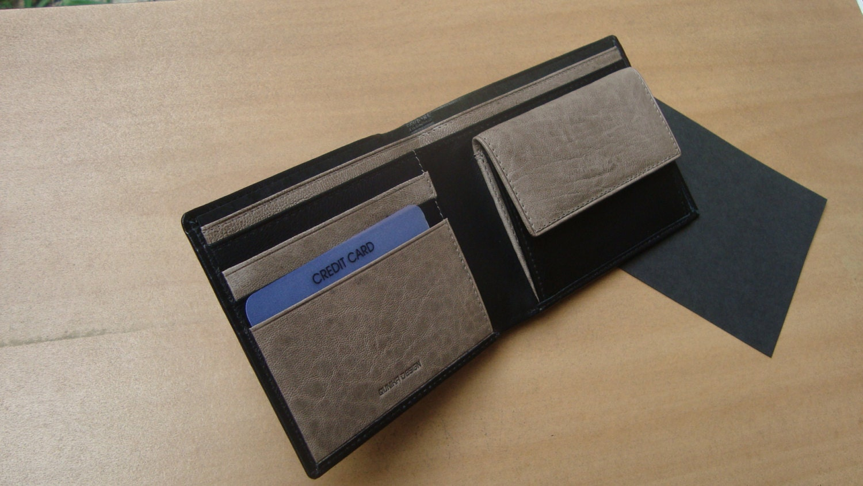 grey and black men wallet Credit card wallet