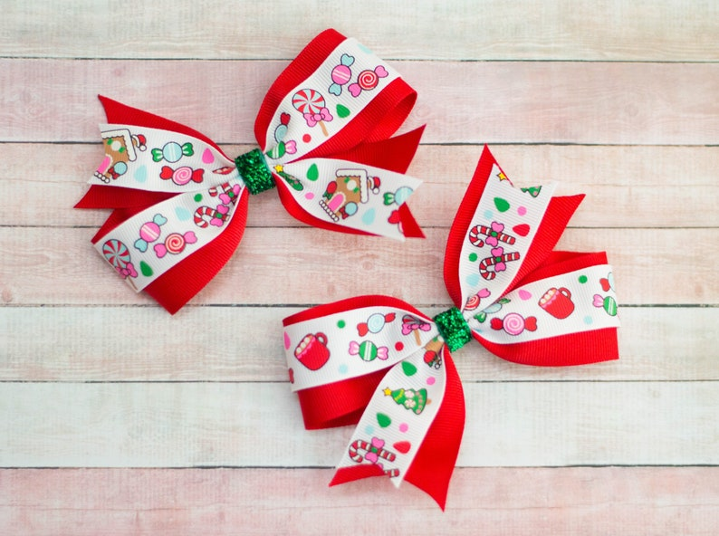 Christmas Hair Bows For Toddlers.Christmas Hair Bows Girls Hair Bow Set Girls Hair Clip Set Holiday Hair Bows Stocking Stuffer Gifts Under 10 Red And White Hair Bows