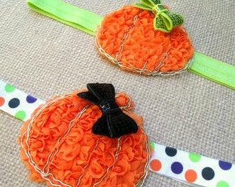 Pumpkin Sequin Bow, Halloween headband, pumpkin headband, orange headband, shabby headband orange, orange and lime, Pumpkin bow, Headbands