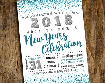 New Years Eve Invitation | New Years Party Invitation | New Years 2018 | New Years Party  | Digital Invitation