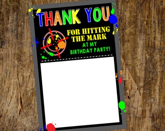 Paintball Birthday Thank You | Flat Thank You Card | Digital File