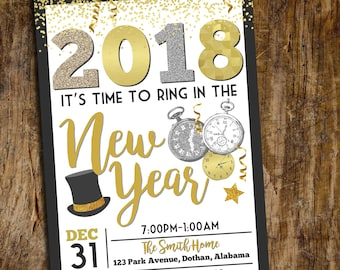 New Years Eve Invitation | New Years Party Invitation | New Years Eve 2018 | New Years Party  | Digital Invitation