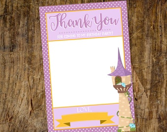 Thank You card | Flat Thank You Card | Rapunzel Thank you | Tangled Thank You | Instant Download
