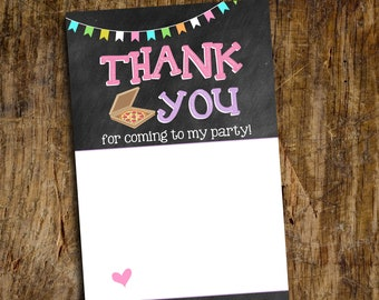Pizza and Pajamas Thank You Flat Card | Flat Thank You Card | Digital File