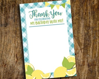 Thank You card | Flat Thank You Card | Lemonade Stand Thank you | Instant Download