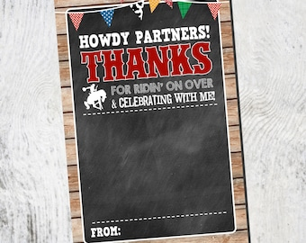 Thank You card | Flat Thank You Card | CowboyThank you | Instant Download