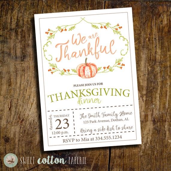 thanksgiving invitation thanksgiving dinner invitation etsy
