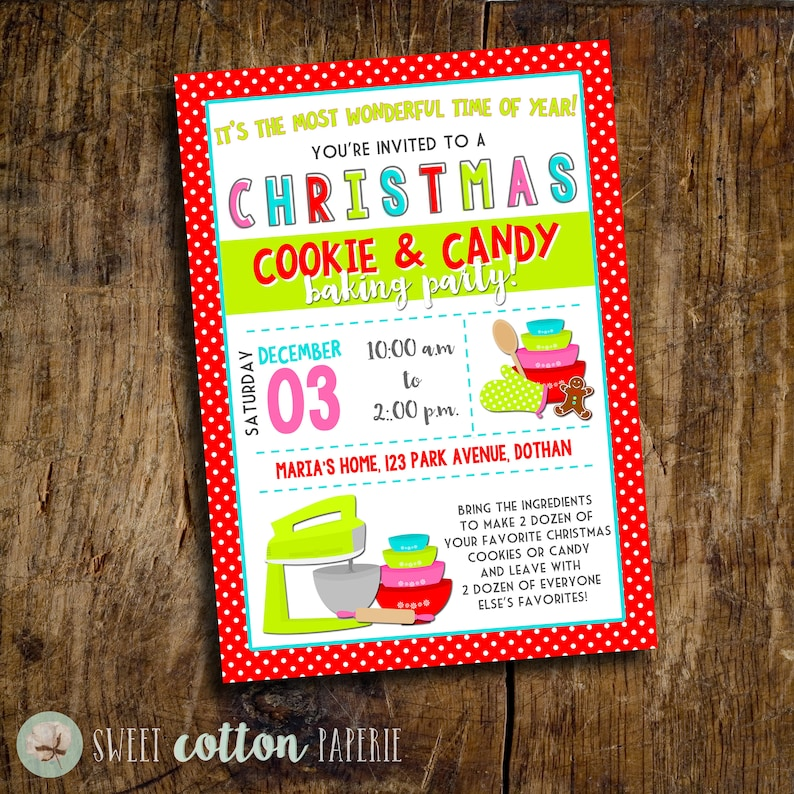 Christmas Baking Invitation  Christmas Cookie Swap Party  image 0