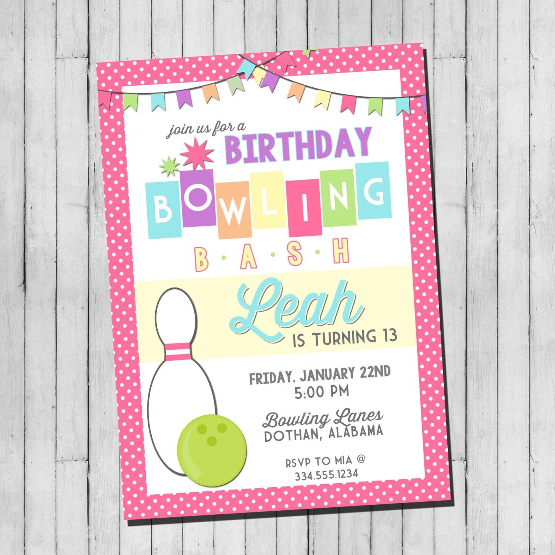 Girl Bowling Birthday Party Invitation Girls Bowling | Etsy