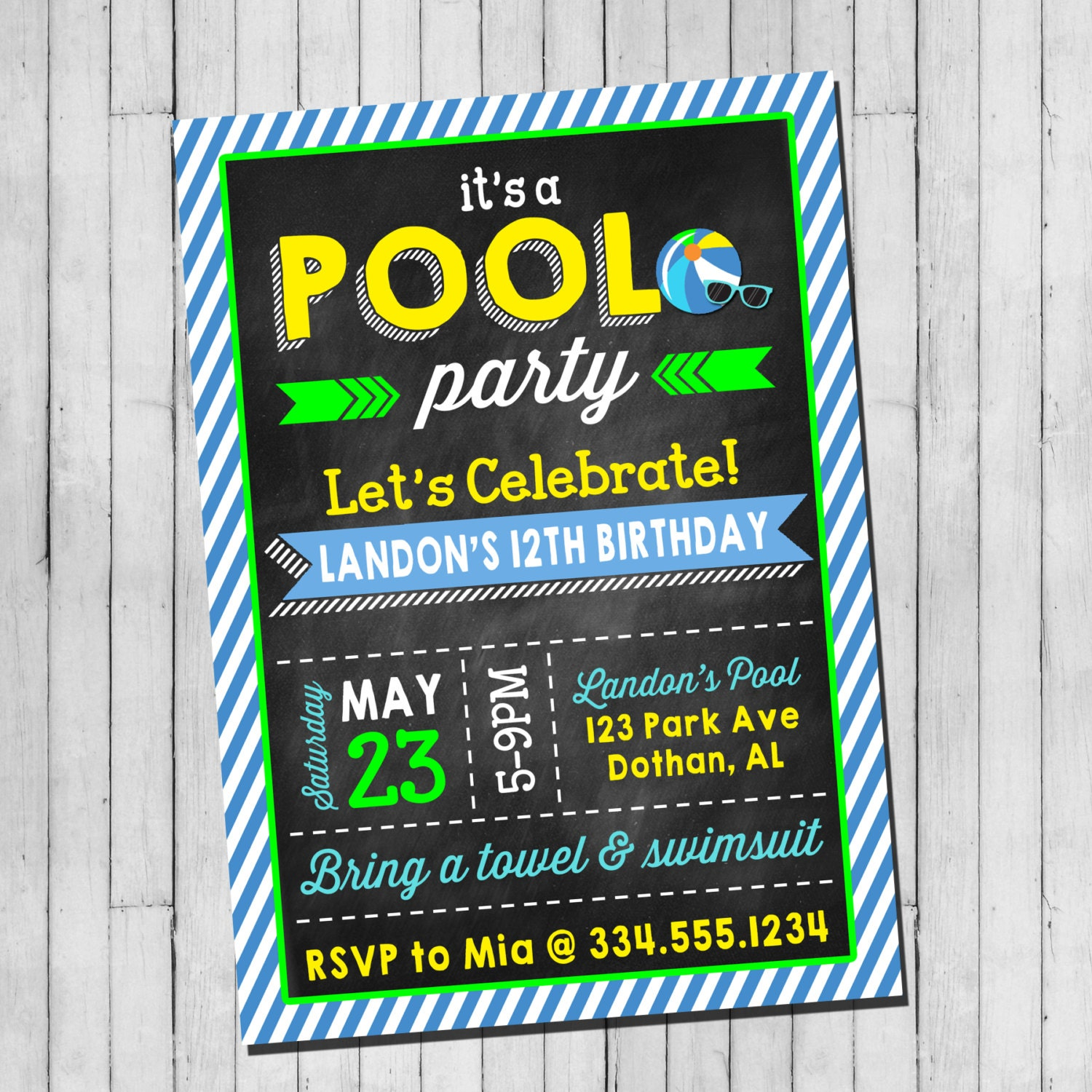 Pool Party Birthday Invitation Boy Teen