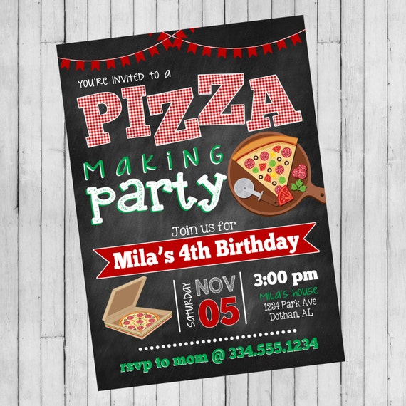 Pizza Party Invitation Making Birthday