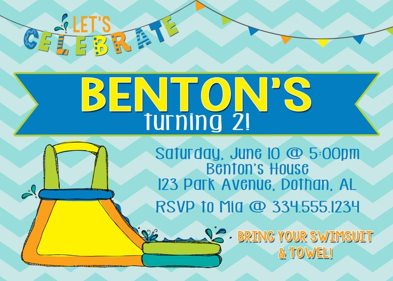 Water Slide Party Waterslide Birthday Invitation Digital Invitation Splash Party
