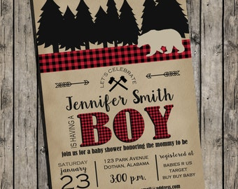 Lumberjack Baby Shower Invitation | Lumberjack | Plaid | Woodsy | Invitation | Lumber Jack | Buffalo Check Invitation