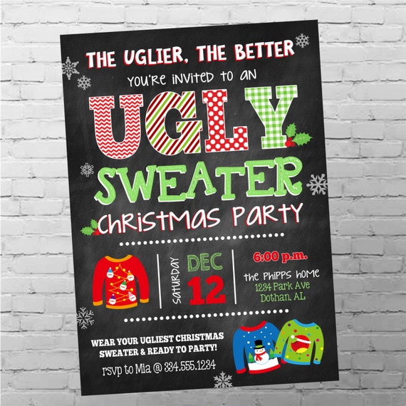 Ugly Sweater Invitation Ugly Christmas Sweater Party Ugly Etsy