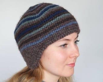 Pilot hat, Pilot cap, Ski hat, Warm winter hat, Wool beanie, Earflap hat, Chunky knit hat, Aviator Hat adult, Stripped wool cap (016)