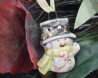 Snowman Ornament, Vintage Style Porcelain Ornament