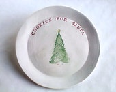 Cookies for Santa Plate, Christmas Dish, Personalized Christmas Gift