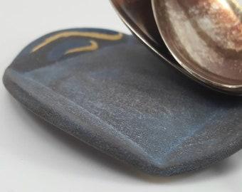 Ceramic Spoon Rest, Matte Gray Spoon Rest, Small Trinket Dish