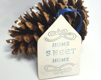 Large Porcelain Home Sweet Home Ornament, Handmade Christmas Ornament