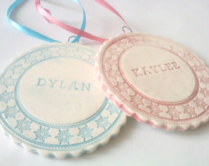 Featured listing image: Baby's First Christmas Ornament, Personalized Heirloom Ornament, Porcelain Baby Ornament