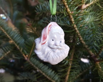 Santa Ornament, Vintage Style Porcelain Ornament