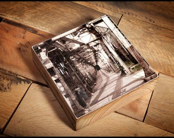 Underneath the Chicago L Train Tracks Photograph Reclaimed Wood Block