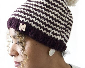 Knit Hat with Pom Pom . Beanie . Super Soft and Warm . Wool Acrylic Blend . Multiple Color Combinations and Choices . Made to Order