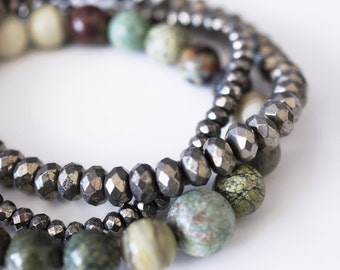 Mixed Green Jasper Natural Stone Bracelet Set . Snowflake Jasper . Snakeskin Jasper . Tallow Jasper, Green Opal and Blood Stone . Pyrite Set