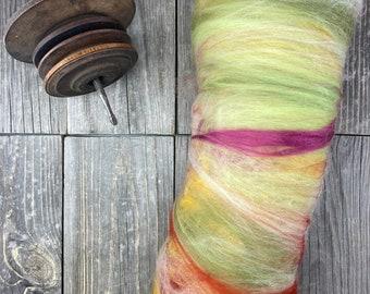 """Spinning fiber . art batt . blended fiber for spinning . OOAK . Spinning Supply . carded batt . color """"Flower Power"""""""