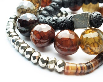 Olive Green Crackle Agate Natural Stone Bracelet Set with Pyrite and Lava Beads . Aromatherapy