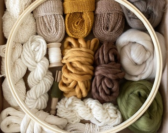 """Deluxe Fiber Pack Gift with embroidery loop option . Multiple fibers and yarns . Creatively curated for smaller weavings . """"Woodland"""""""