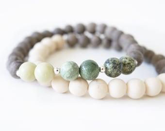 Mala Bracelet . Green Opal . Tallow Jasper . Snowflake Jasper . River Stone  .  Graywood . Natural Stone . Meditation Bracelet .