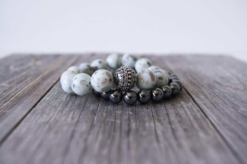 Natural Dalmation Jasper Bracelet . Natural Stone Bracelet . image 0