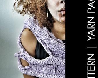 "Yarn Pack Knitting Pattern combo ""Broken Wings"" pattern plus 3 skeins Asana Bulky . Superfine Alpaca Peruvian Highland Wool. Galler Yarns"