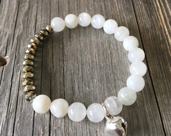 Don't touch your face bracelet Moonstone Natural Stone bracelet with pyrite beads and a silver bell reminder bracelet to not touch your face
