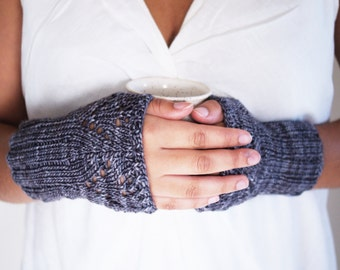 Hand Knitted Wrist Warmers . Hand Warmers .  Steel gray . Fingerless Mittens . Soft . Ready to ship