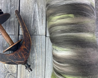 "Spinning fiber . art batt . blended fiber for spinning . OOAK . Spinning Supply . carded batt . color ""WOODS"""