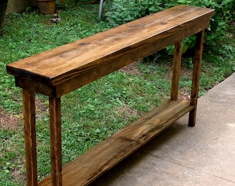 "60"" Rustic Console Table Extra Narrow Sofa Table Entryway Hallway Foyer Table with Shelf 60 Inch Long"