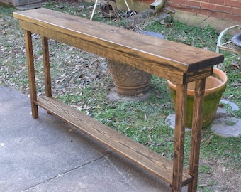 60 Inch Rustic Console Table Extra Narrow Sofa Table Entryway | Etsy