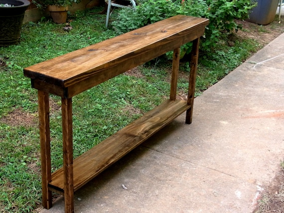 60 Inch Rustic Console Table Extra Narrow Sofa Table Entryway Etsy