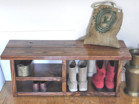 42 Inch Boot Cubby Rustic Bench Shoe Bench Entryway Hallway Etsy
