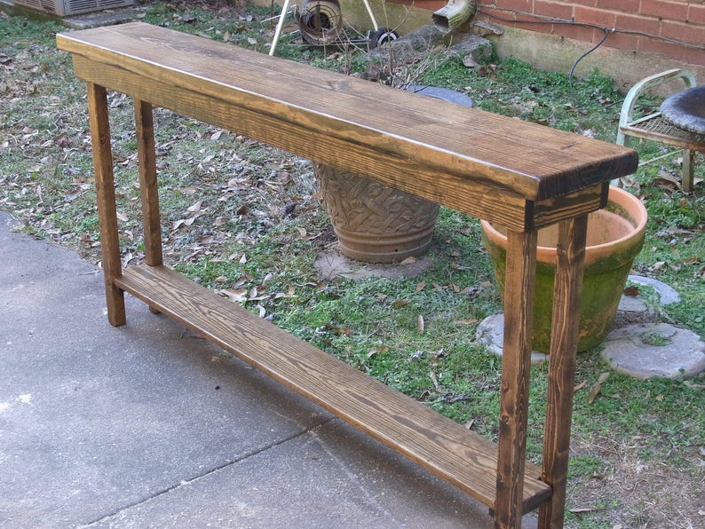60 Inch Rustic Console Table Extra Narrow Sofa Table Entryway Hallway Foyer  Table with Shelf
