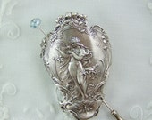 Shawl Pin, Scarf Pin, Sweater Pin, Maiden Pin, Garden Maiden, Harp Playing Nymph, Butterfly Pin, Victorian Garden, Fairy Pin, Harp Pin