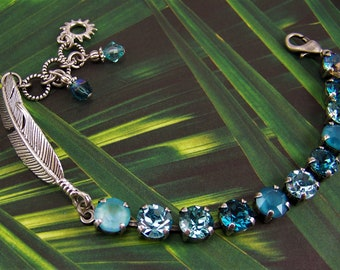 Feather Bracelet, Cup Chain Bracelet, Tennis Bracelet, Silver Feather Bracelet, Turquoise Crystal Bracelet, Southwest Inspired Bracelet